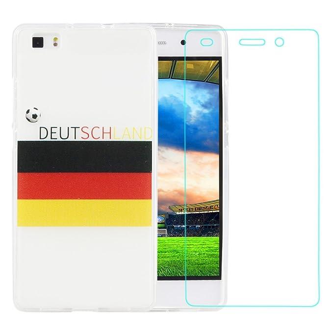 Funda Huawei P8 Lite,ZXK Funda del Gel TPU silicona para Huawei P8 Lite Carcasa Trasera Dura Case Transparente -Logotipo Selección del fútbol de ...
