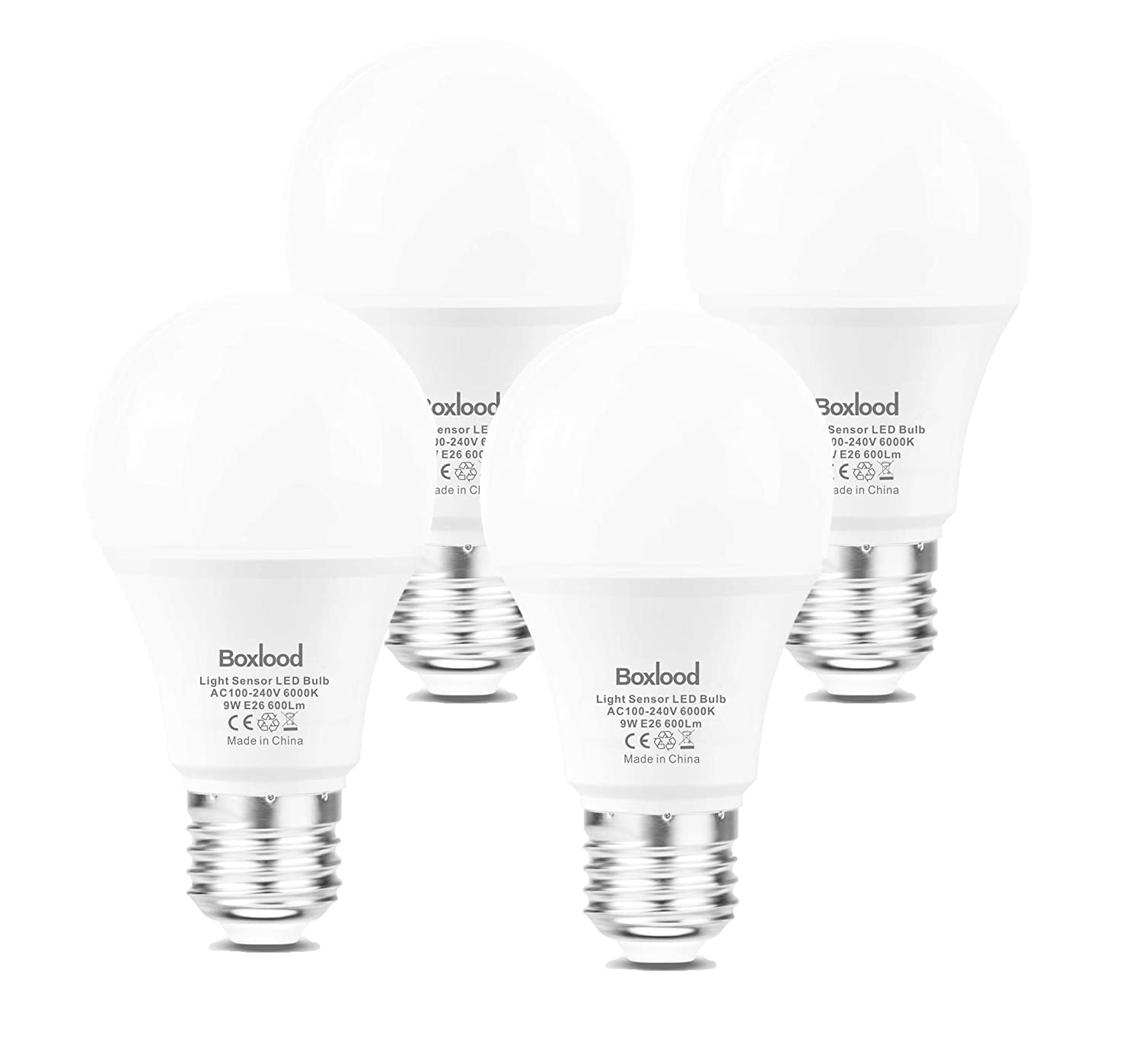 Dusk to Dawn Light Bulbs, E26, 60W Equivalent, AC100-240V, 6000K Cool White Auto On/Off Indoor/Outdoor Sensor LED Bulb by Boxlood (4 Pack)