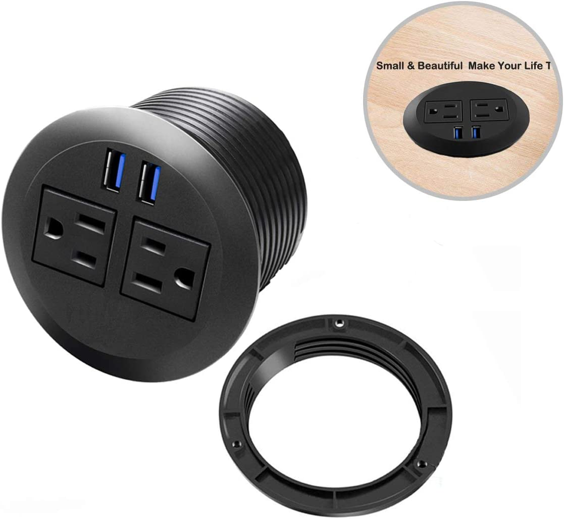 Desk Power Grommet Outlet, Recessed Power Strip Socket with USB, Connect 2 Plug, Power Station Center for Furniture Conference Room Office Kitchen Table