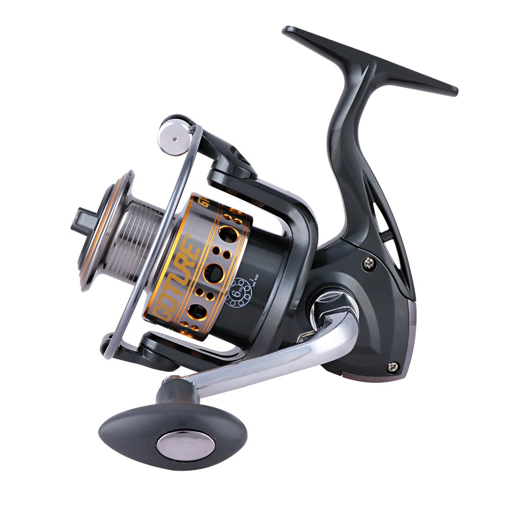 Goture Spinning Fishing Reel With Metal Spool Smooth Reel Freshwater Saltwater Up to 22 LB Drag 6BB+1RB GT1000V Series
