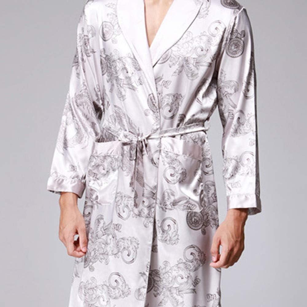 Langarm V-Ausschnitt Blumendruck Knielang Leicht Saunamantel und Taschen Hausmantel Pajama Kimono mit G/ürtel OverDose Boutique Herren Morgenmantel Nachthemd Badem/äntel Robe