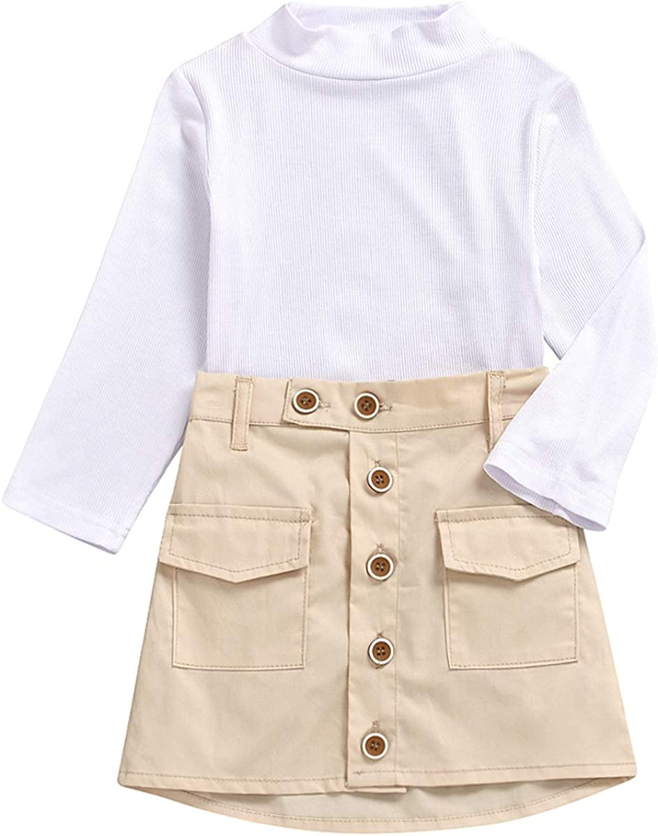 DaMohony Kids Toddler Girl Clothes Set Long Sleeve Shirt Top Short Shirt 2Pcs Girl Skirt Clothes Outfit for 2-7 Years