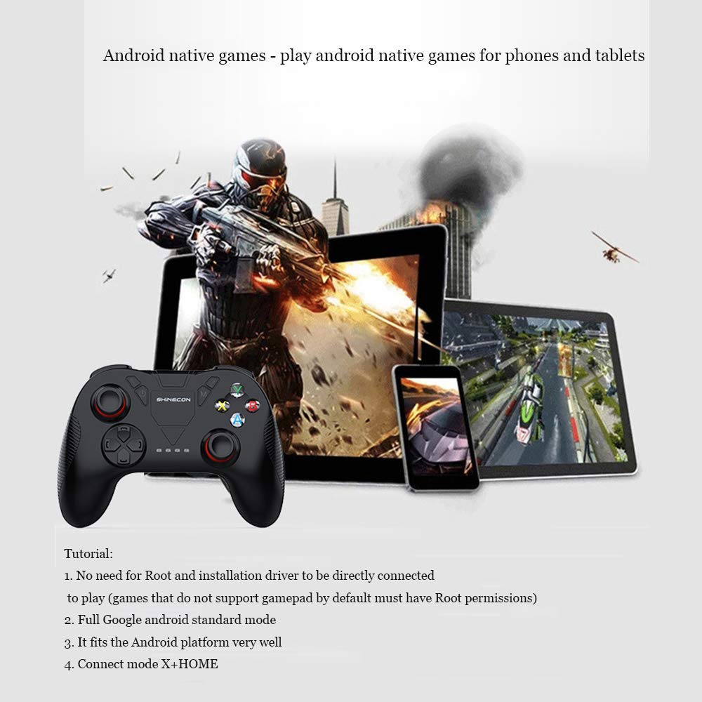 LDJC Wireless Bluetooth Gamepad, High-Density 3D Anti-Slip Rocker Stereo Touch Phone Time About 40 Hours Lithium Battery Durable VR Remote Control