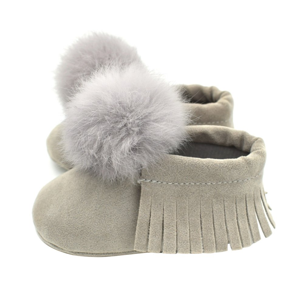 Weixinbuy Newborn Baby Boys Girls Fur Ball Tassel Soft Sole Crib Shoes Moccasin