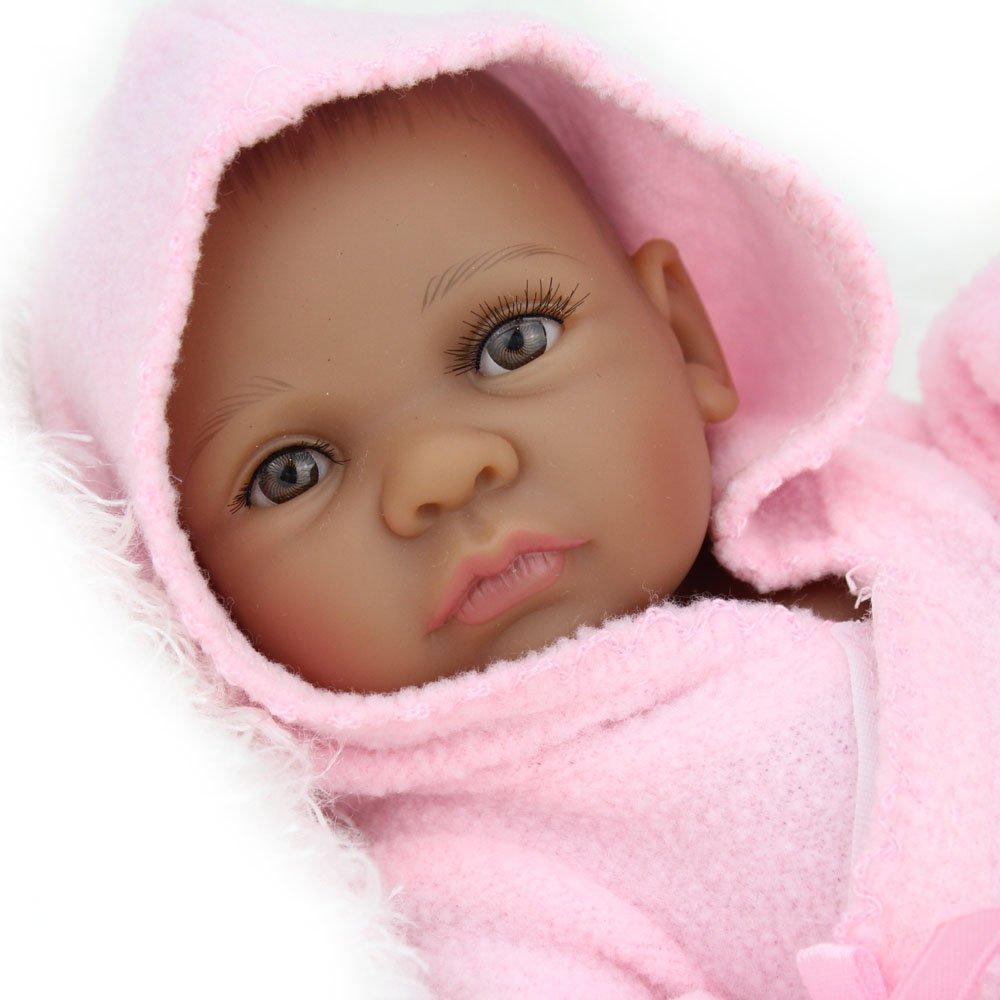 Kaydora Reborn Baby Dolls 10 Inch Girl Full Body Silicone African American Newborn Baby Reborn Dolls Bathe Partner Toy