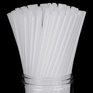 Blulu 350 Pieces Clear Straws PLA Plastic Biodegradable Straws Disposable Drinking Straw, 8 Inches