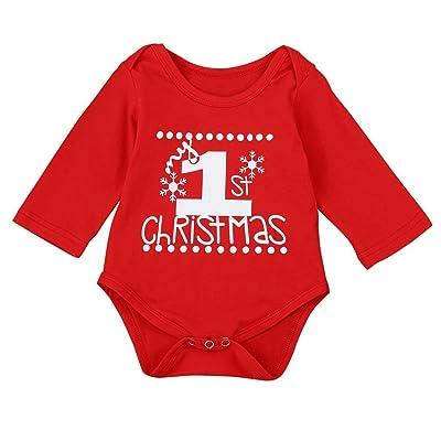 Costume de Noël, Tpulling Bébé Noël à manches longues Combi-short Barboteuse