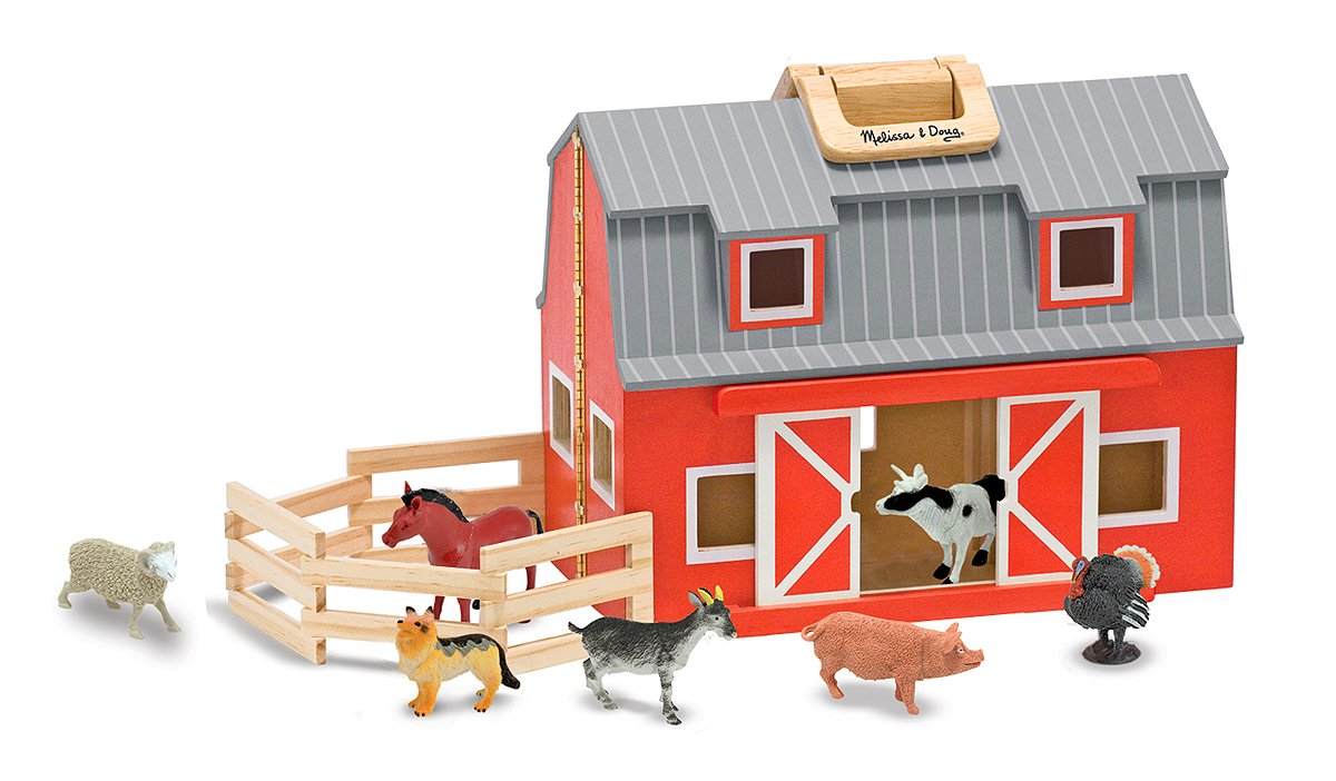 Melissa and Doug Fold and Go Red Painted Wood Barn