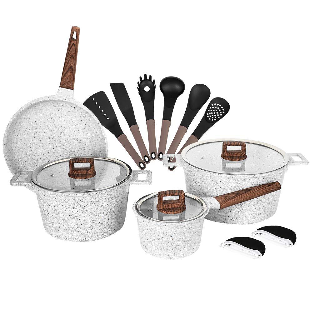 Nonstick Cookware Setアルミダイカストセラミックマーブルコーティング誘導Dishwasher耐スクラッチ性安全PFOAフリー鍋セットwith Cooking Utensil pack-16 ホワイト  ホワイト B0789FMPLT
