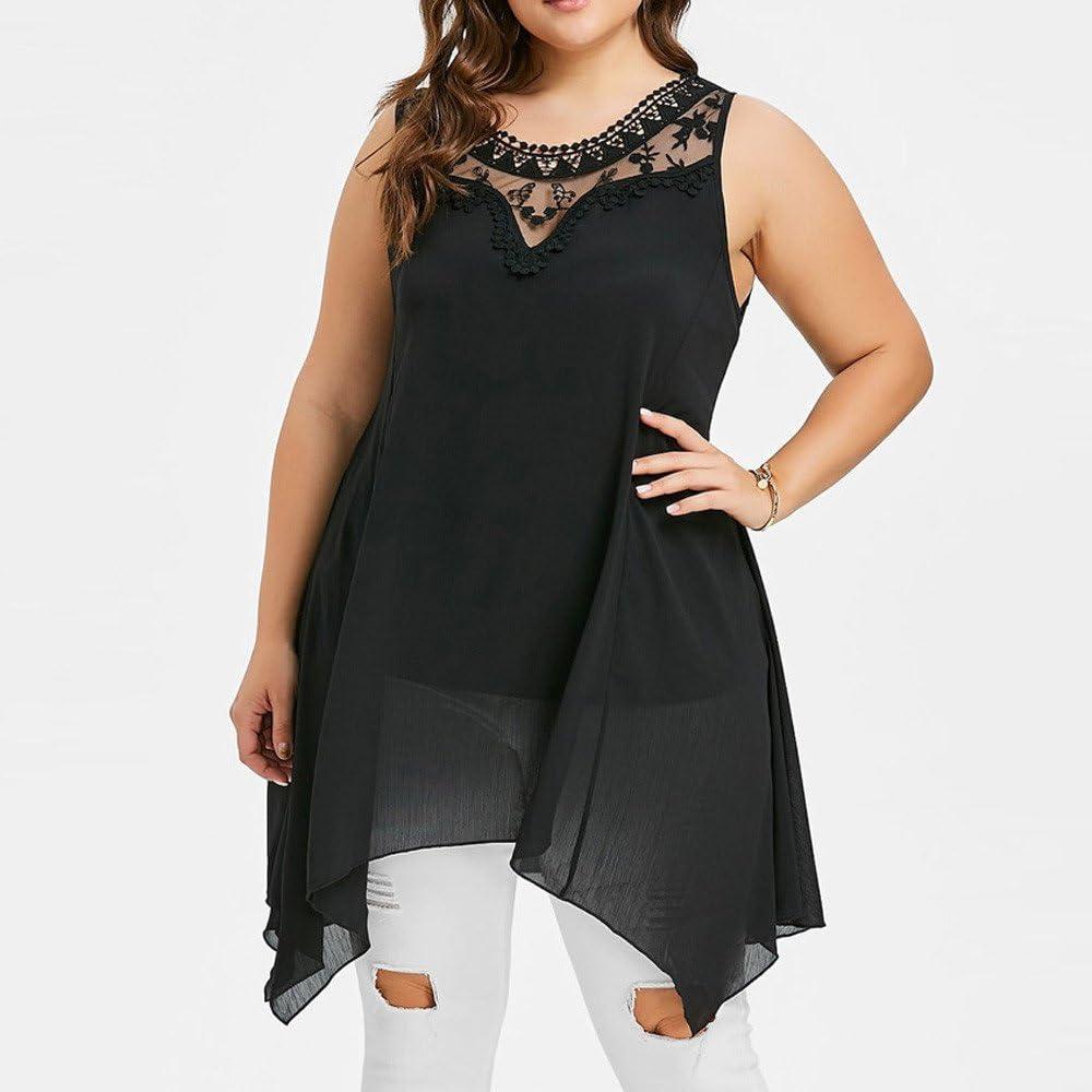 Fashion Women Plus Size Lace Off Shoulder T Shirt for Men Cami Asymmetric O Neck Blouse