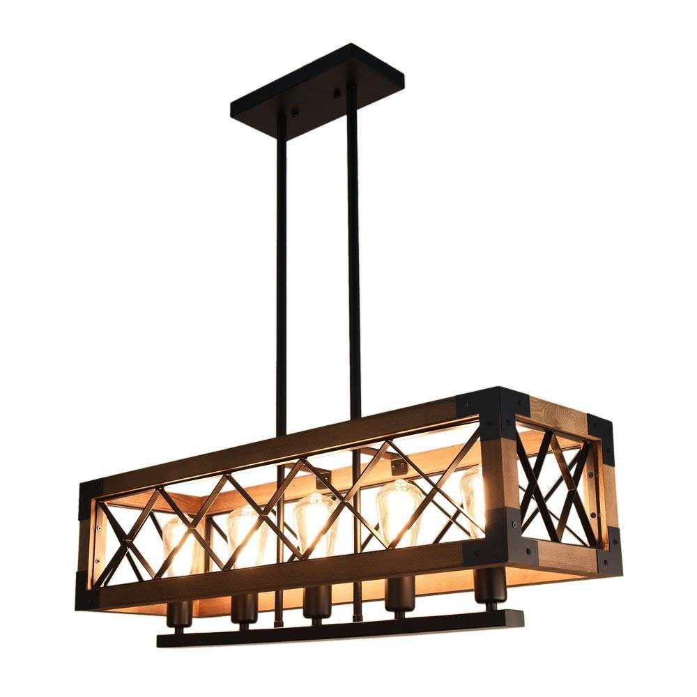 OYI 001 Farmhouse Hanging Fixture Retro Ceiling Light, Brown