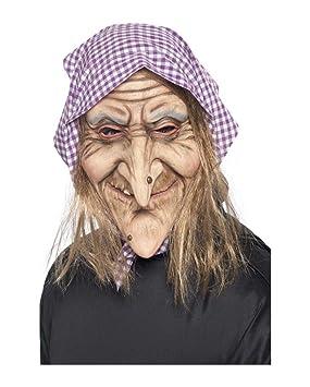 Horror-Shop Máscara de bruja vieja con un pañuelo en la cabeza