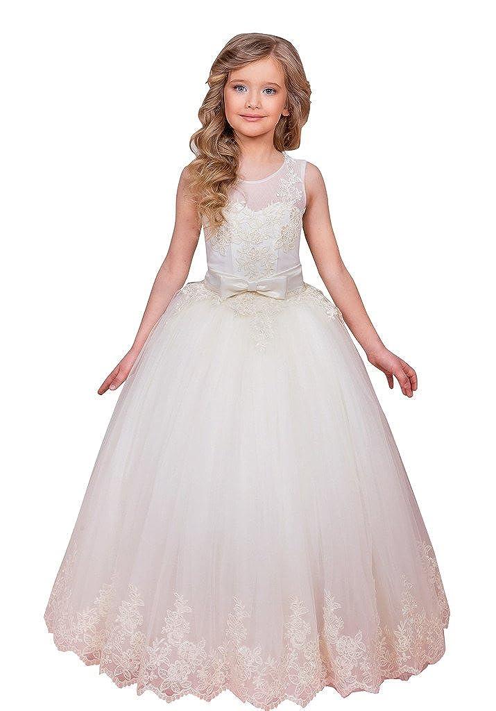 Flowerry Lace Tulle Girl Dress Flower Girl Dress Girl Prom Dress Custom 4T: Amazon.co.uk: Clothing