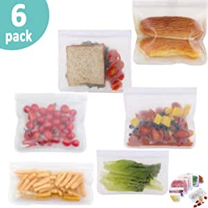 Silicone Bags Reusable Food Storage Bags(Set of 6)-SYSAMA Washable Ziplock Bag 4 Sandwich Bags & 2 Snack Bags,for Vegetable,Liquid,Snack,Meat,Lunch,Fruit,Sous Vide,Lunch,Freezer Safe,Eco-friendly Bag