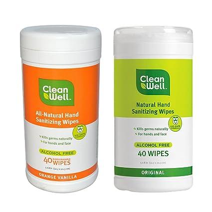Limpio y naranja vainilla all-natural mano sanitización toallitas y limpia bien Original all-