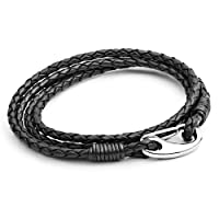 Tribal Steel 19cm Black Leather, Double Wrap Bracelet