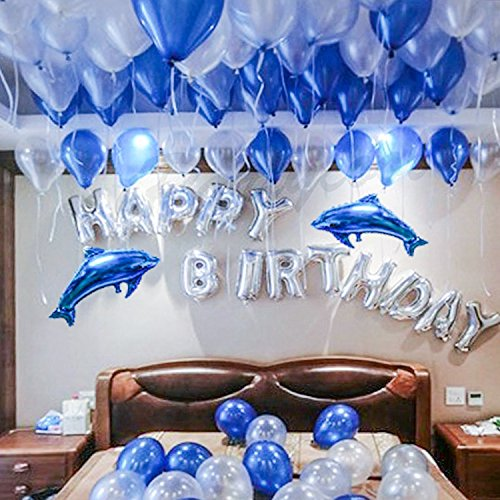 BESTTY Happy Birthday Balloons 100 Pcs Blue Birthday Party Balloons Decorations All-in-One Set with Pump, Birthday Banner, 2 Cute Dolphins, Glue Stickers, Ribbon for Children's Birthday Party