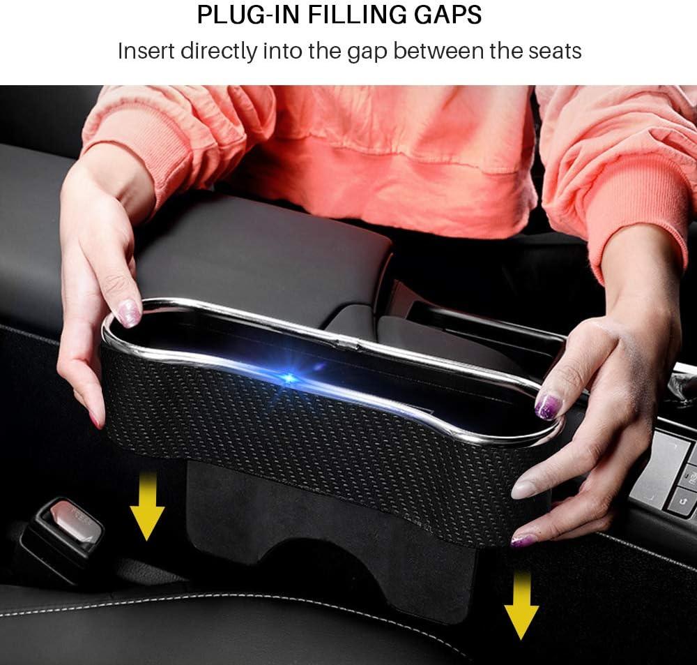 2 PACK Console Side Storage Organizer Car Seat Gap Filler /& Catcher Front Seat Space Gap Filler with Cup Holder Car Front Seat Side Drop Organizer Space Saver Interior Gift for 4pcs Headrest Hanger