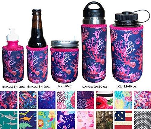 Durable Bottle Polycarbonate (Koverz Neoprene 24-30 oz Water Bottle Insulator, Water Bottle Holder Cover Cooler Coolie for Stainless and Plastic Bottles - Coral Reef)