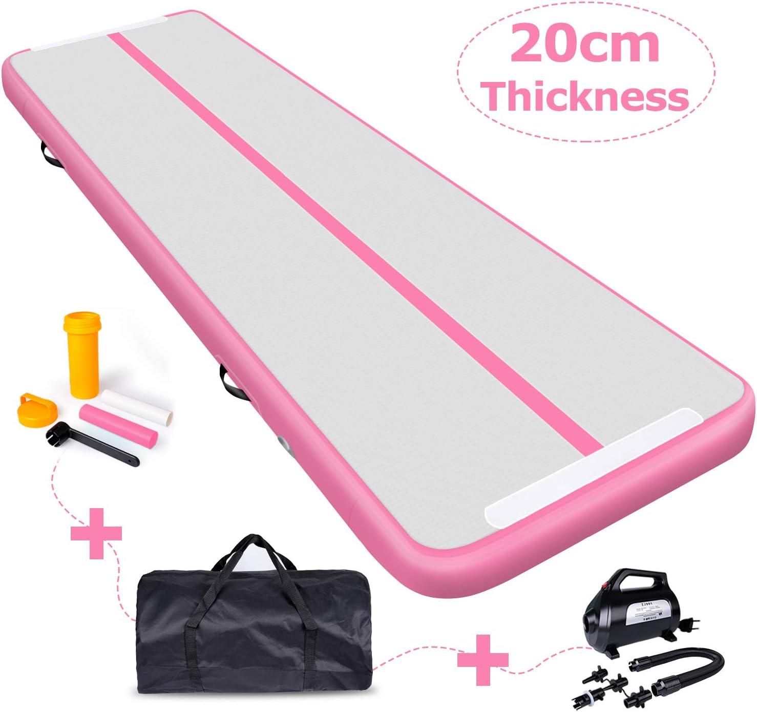 Airtrack Gymnastikmatte mit Tragetasche in pink