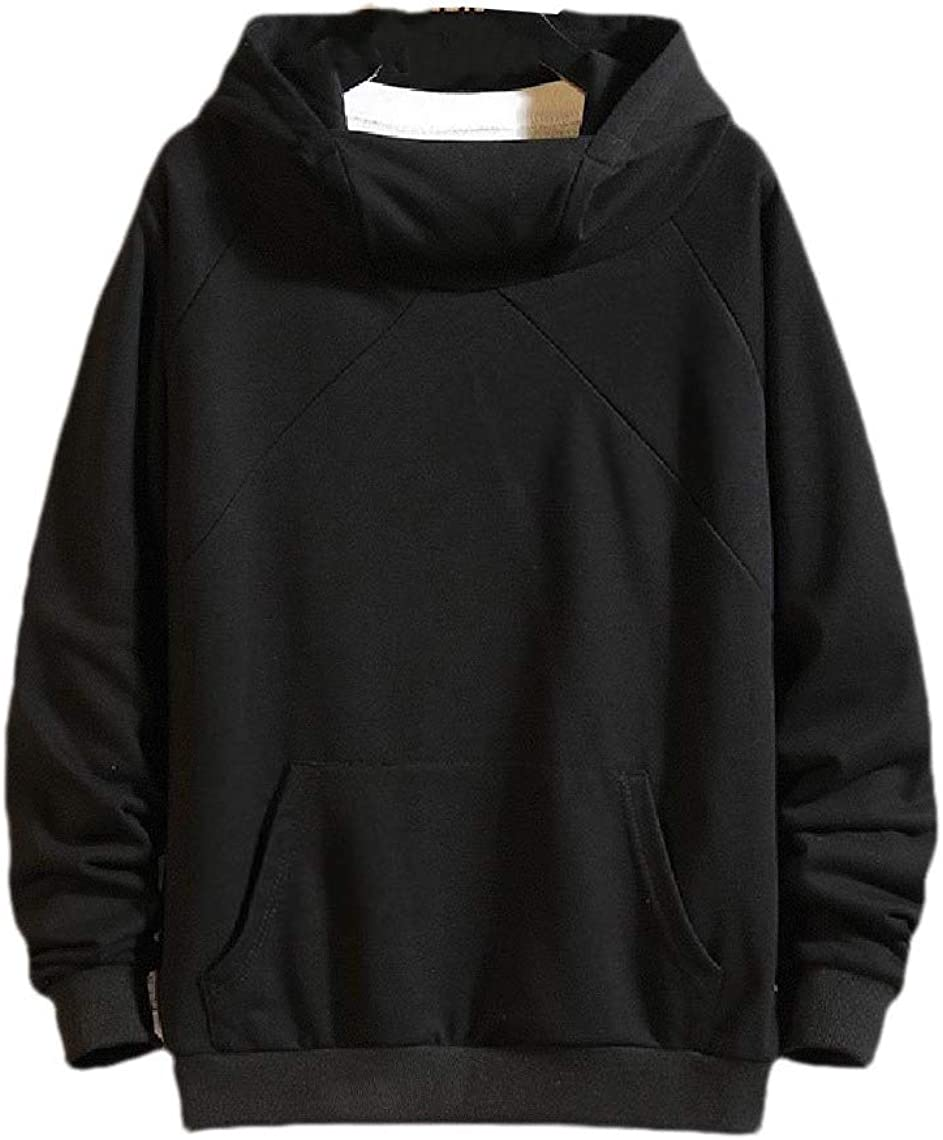VITryst Mens Cotton Solid-Colored Casual Loose Plus Size Sweatshirts with Hood