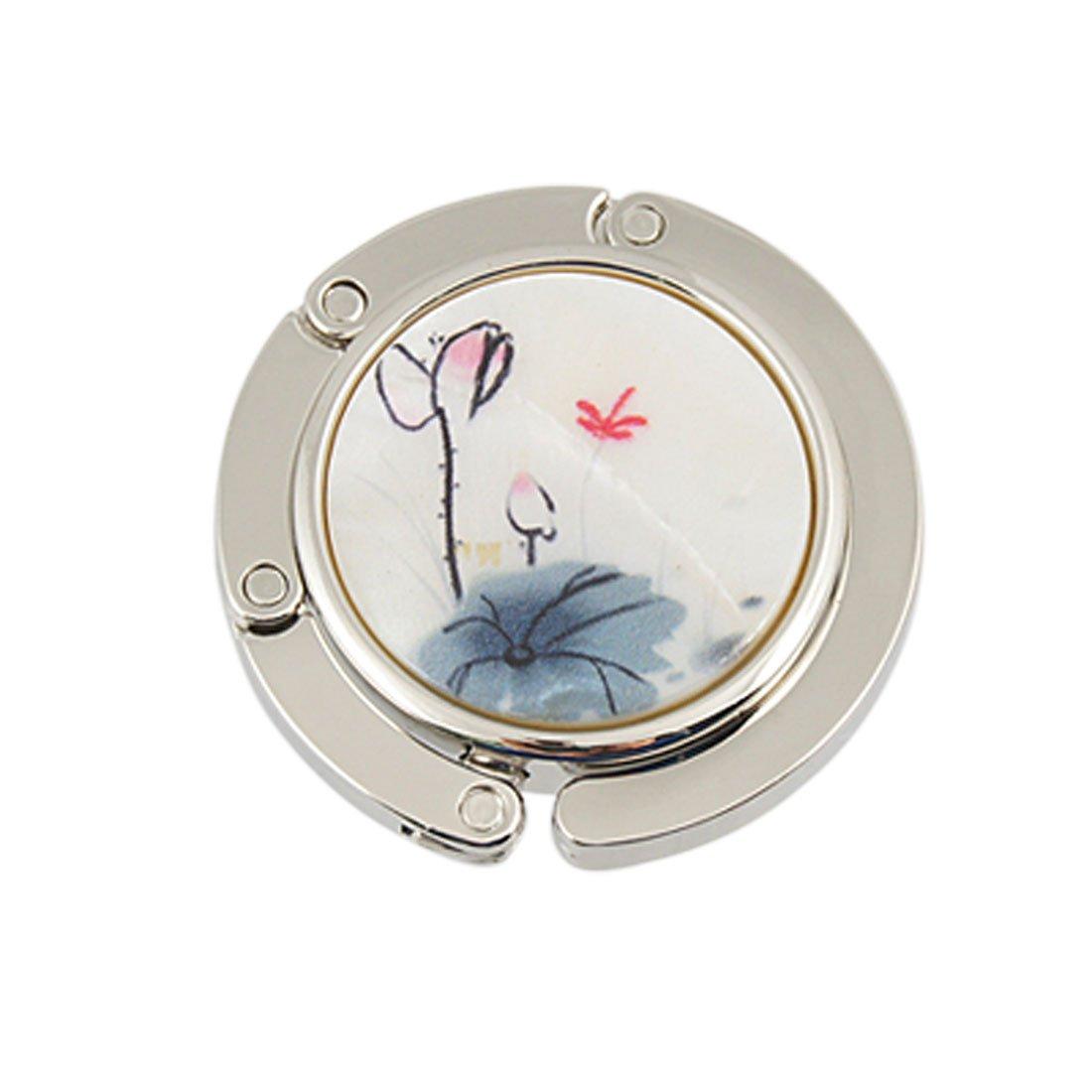 sourcingmap® Handtaschen Haken Lotus Blumen Blätter Aufdruck Faltbarer Tisch Kleiderbügel Blau US-SA-AJD-08056