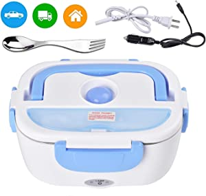Electric Lunch Box for Car and Home 110V & 12V Removable Stainless Steel Portable Food Grade Material Warmer Heater - with 2 in 1 Fork & Spoon (blue)