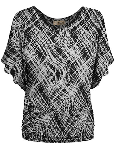 - Womens Boat Neck Dolman Top Shirt KT44130 10551 Black/Whit Medium
