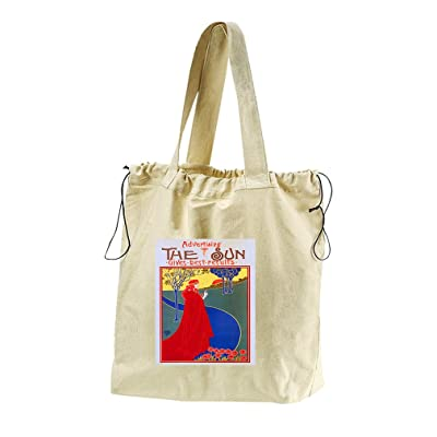 The Sun Canvas Drawstring Beach Tote Bag