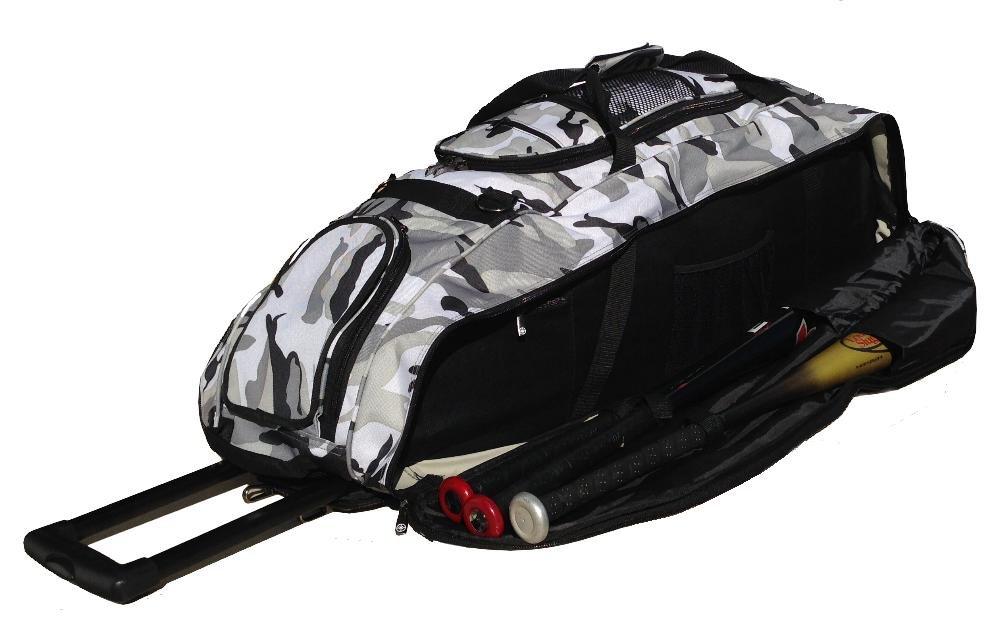 Catchers Bag in Gray Camouflage Cobra XL III Softball Baseball Bat Equipment Roller Bag