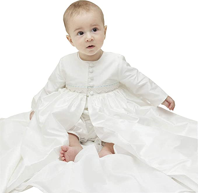 f29dddde42ef1 ShineGown Ivory Christening Gowns with Bonnet Boy Antique Vintage Baptism  Dress for Baby Size 0-3-6-9-12-18-24M Long Coat Romper Suit  Amazon.co.uk   ...
