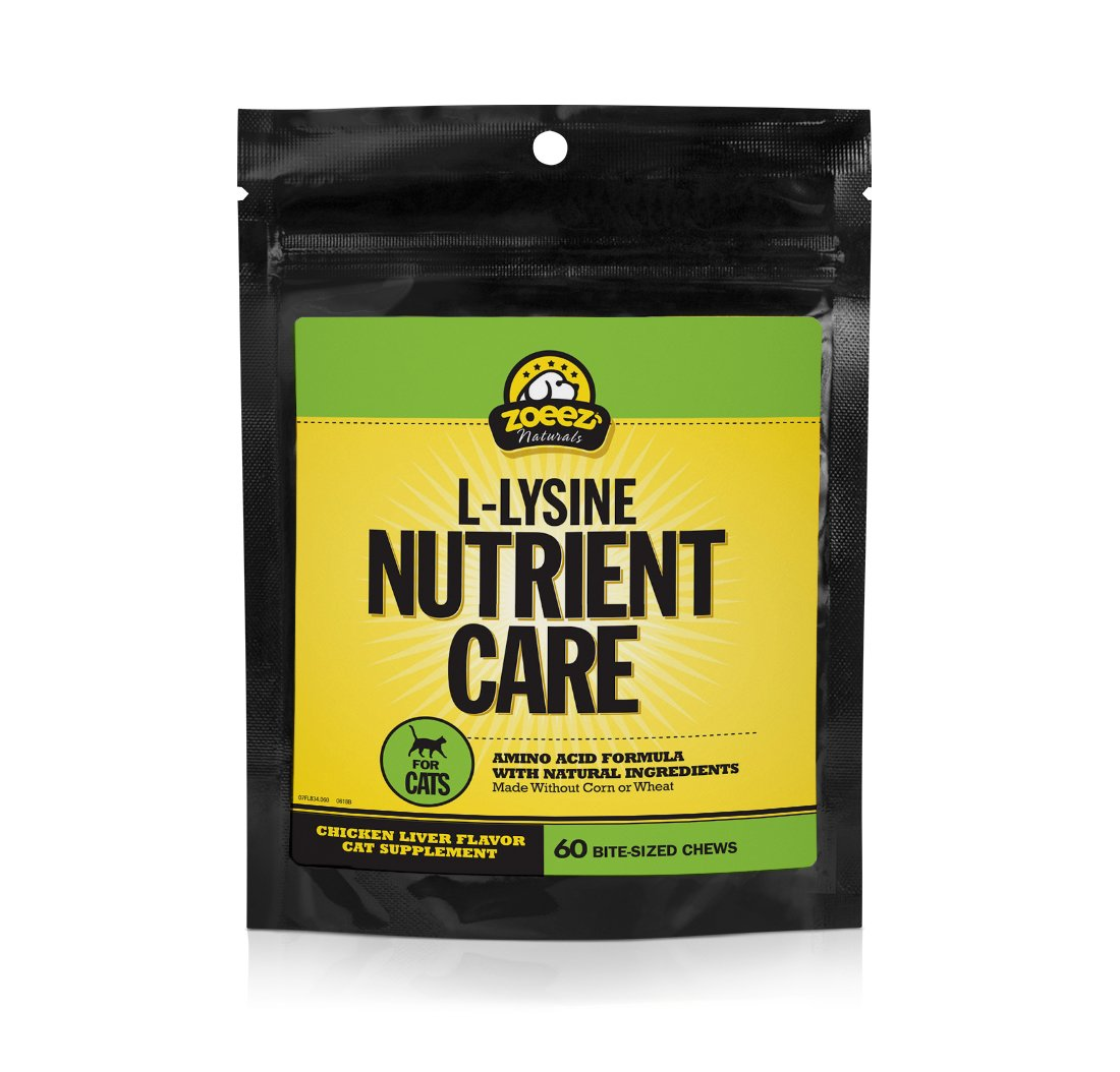 Zoeez Naturals Lysine Nutrient Care | Natural Support Supplements For Cats| Amino Acid Cat Chewables (Chicken Liver Flavor), 60 chews