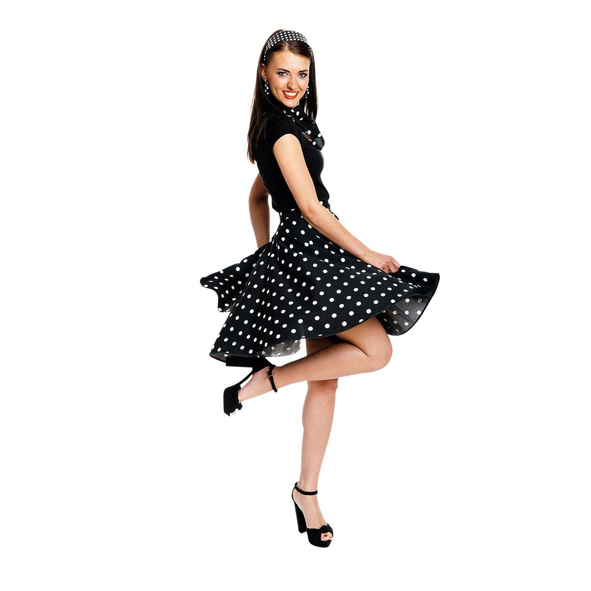 cfd2f3c7e5f593 Kostümplanet® Rock-n Roll Rock Kostüm schwarz weiß gepunkteter Rock  knielang mit passendem Schal Halstuch Tellerrock 50er Jahre Stil Mode  Kostüm ...