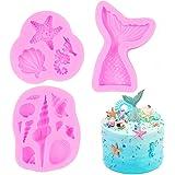 SAKOLLA Mermaid Theme Silicone Fondant Mold - Mermaid Tail Seashell Starfish Hippocampus Conch Silicone Mold for Under…