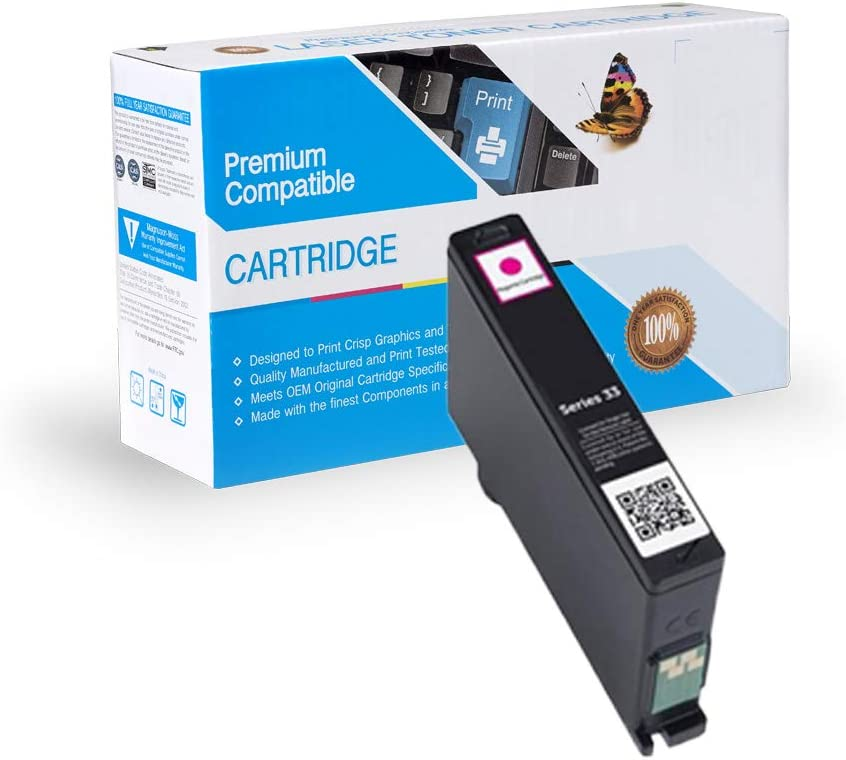 Ink Now Premium Compatible Dell Magenta Ink Jet Series 31, 32, 33, 331-7379, 331-7690 (XL) for Dell V525W, V725W Printers yld