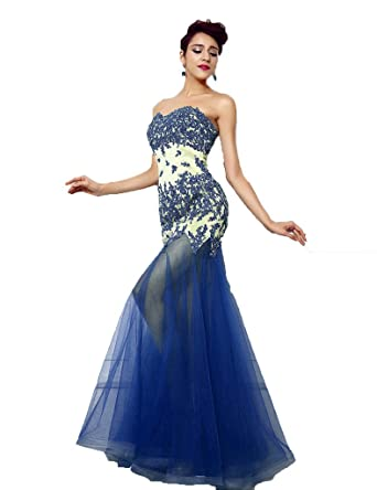 ZVOCY Sexy Mermaid Evening Dresses Tulle Beaded Appliques Long Prom Dress Blue 2