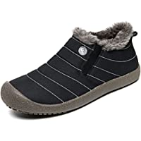 JACKSHIBO Mens Womens Slip On Winter Boots Fur Lined Outdoor Anti-Slip Snow Boots