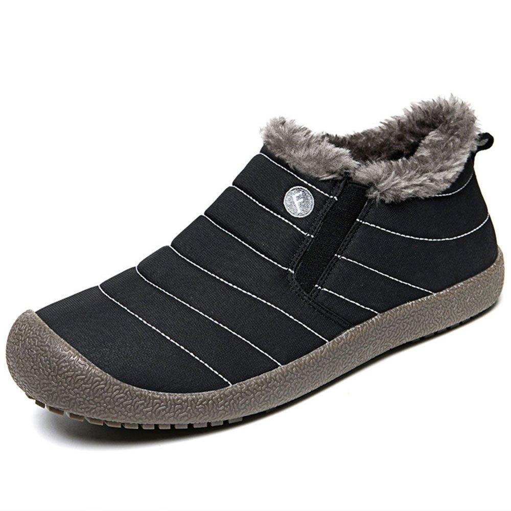 JACKSHIBO Mens Womens Slip On Winter Boots Fur Lined Outdoor Anti-Slip Snow Boots
