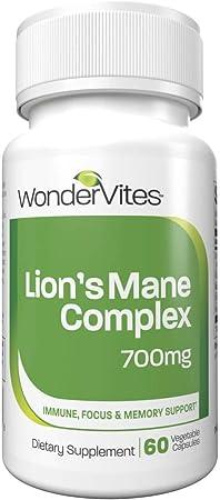 WonderVites Lion's Mane Mushroom Supplement, Nootropic to Support Brain Health, Focus & Immune System, Non-GMO - 60 Count