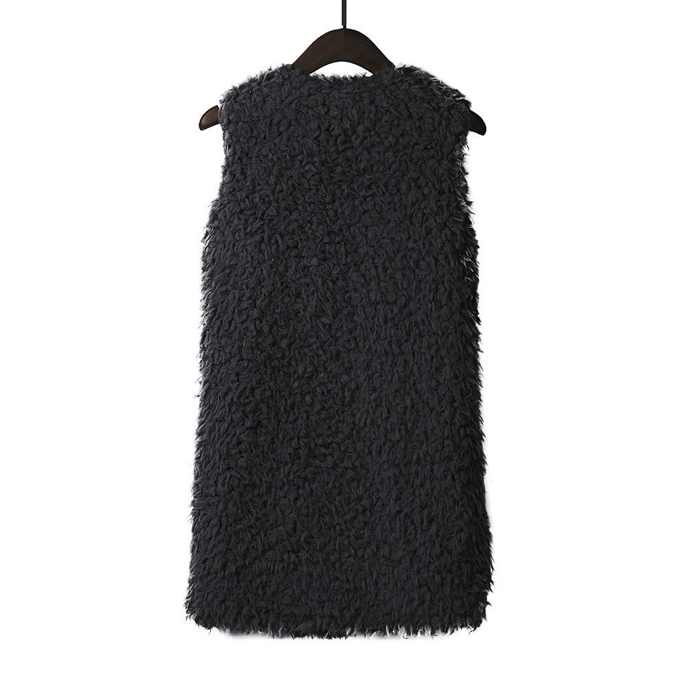 Dainzuy Faux Fur Vest for Women Winter Warm Casual Sherpa Fleece Cardigan Lightweight Sleeveless Vest with Pockets