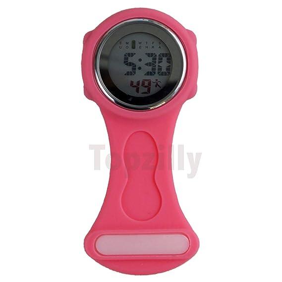 Topzilly - Reloj Digital Unisex de Silicona multifunción para Enfermeras, broches, túnicas, Bolsillos, mosquetones, Color Rosa: Amazon.es: Relojes