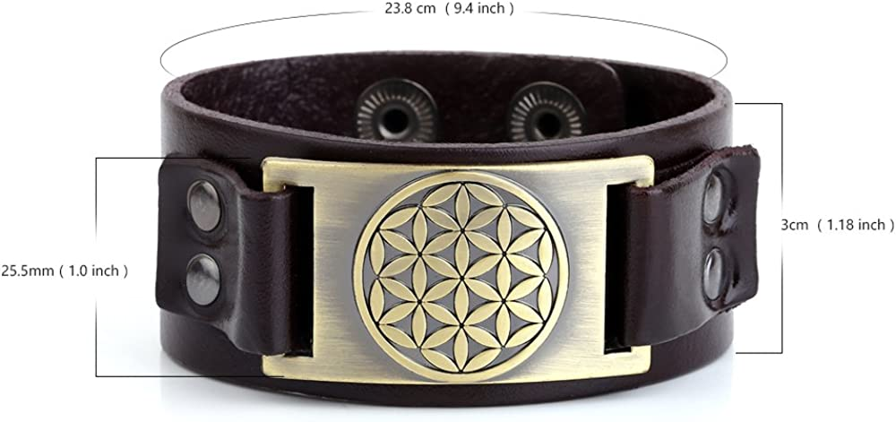 My Shape Flower of Life Leather Bracelet Adjustable Pagan Cuff Bangle for Men Women Jewelry Gifts