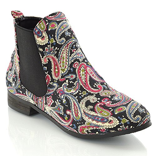 SIZE ON CHELSEA BOOTIES Paisley ANKLE GUSSET NEW 5 FLAT HEEL WOMENS 6 LADIES LOW VINTAGE 8 4 3 BOOTS PULL PIXIE ELASTIC 7 IZfqvf