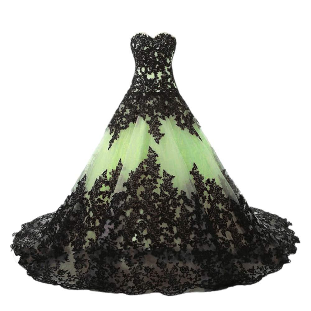 Sage APXPF Women's Vintage Gothic Wedding Dress Elegant Black Appliques Prom Ball Gowns
