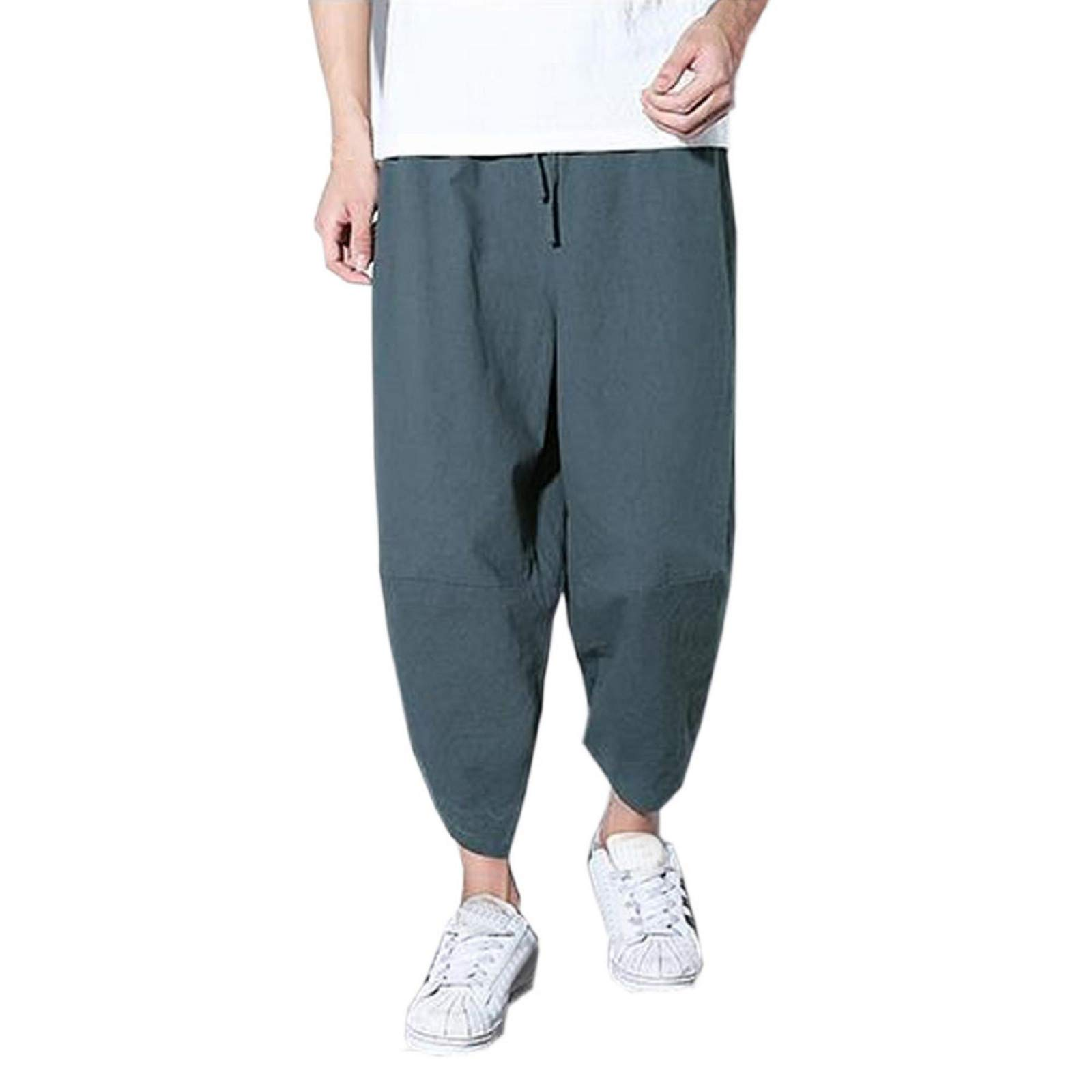XINHUXIN Men's Elastic Waist Wide Leg Cotton Harem Baggy Pants Patchwork Linen Capri Trousers Available M-3XL Gray