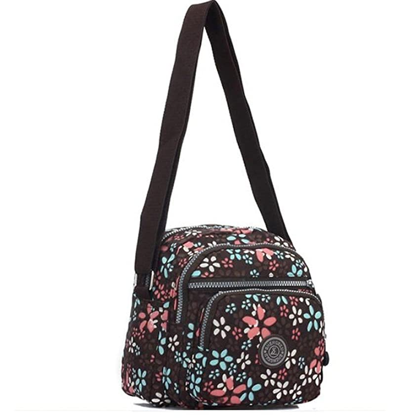 29cc1a536dc7 Big Mango Fashion Multi-purpose Pretty Floral Print 4 Zipper Compartments Crossbody  Bag Soft Oxford Single Shoulder Bag Cellphone