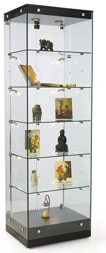 Tempered Glass Frameless Design Tower Display Cabinet, Black Finish Base, 5  Adjustable Shelves And
