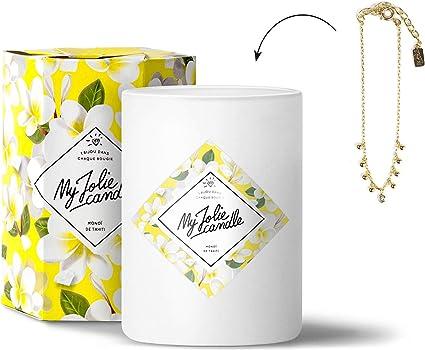 MY JOLIE CANDLE | Bougie parfumée au Monoï avec Bijou à l'intérieur |  Bracelet en Plaqué Or | 70h Combustion | Cire 100% Naturelle végétale | 330g