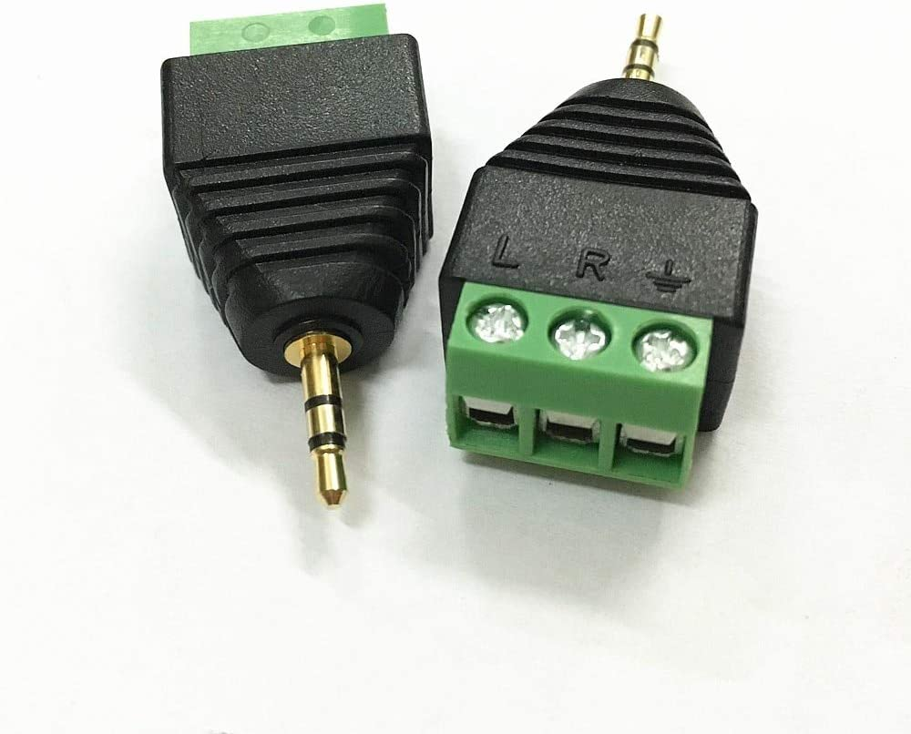 Audio Plugs Mercury/_Group 100Pcs Video AV Balun 2.5mm 3 Pole Stereo Male to AV Screw Terminal Stereo Jack 2.5 mm male 3 Pin Terminal Block Plug Connector