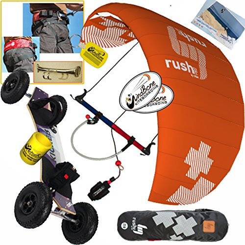 HQ HQ4 Rush Pro V 350 3.5M Kite Mountainboard Kiteboarding Bundle (7 Items) Includes Landboard + Peter Lynn Harness + Chicken Loop + WB Decals + WB Key Chain + Koozie